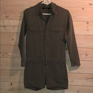 76ee121ee44 J Brand Shorts - J Brand Avery Olive Drab Long Sleeve Short Romper